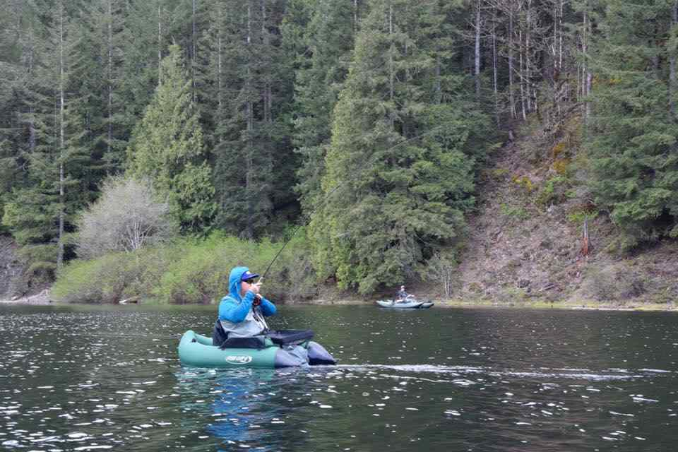 belly boat fly fishing in BC Canada
